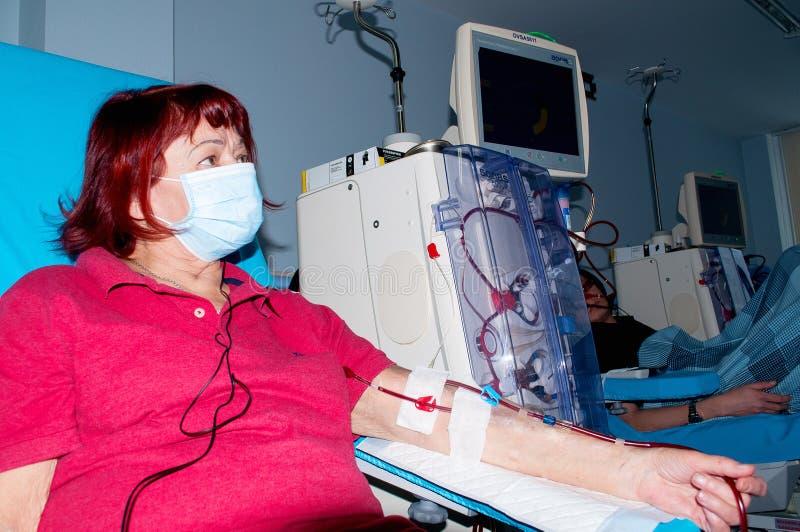 Ältere Frau auf Dialyse im Krankenhaus lizenzfreie stockbilder