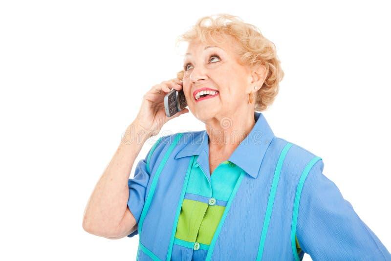 Ältere Frau - auf Mobiltelefon lizenzfreie stockfotografie