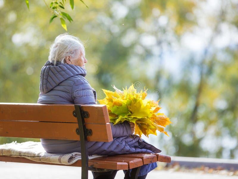 Ältere Frau, die auf Bank im Park sitzt lizenzfreies stockfoto