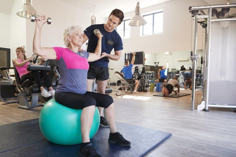 Ältere Frau, die auf Gymnastikball mit den Gewichten angeregt werden vom persönlichen Trainer In Gym trainiert stockfotos