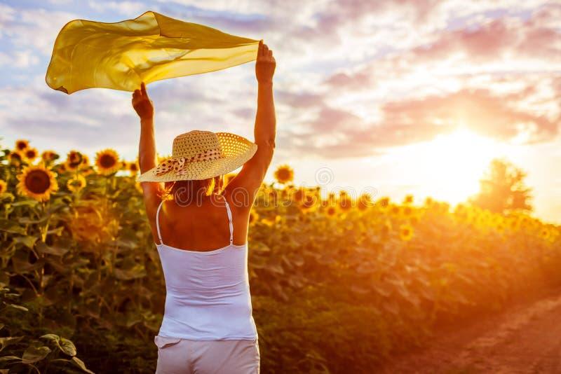 Ältere Frau, die in das blühende Sonnenblumenfeld anhebt Hände mit Schal und hat Spaß geht Krasnodar Gegend, Katya stockbilder
