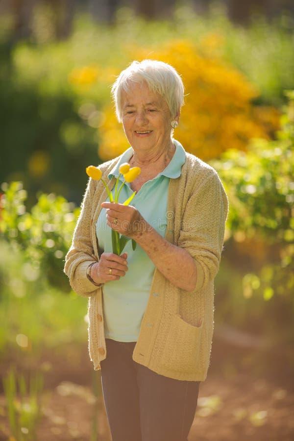 Ältere Frau, die einiges im Garten arbeitet in ihrem reizenden Garten tut stockfoto