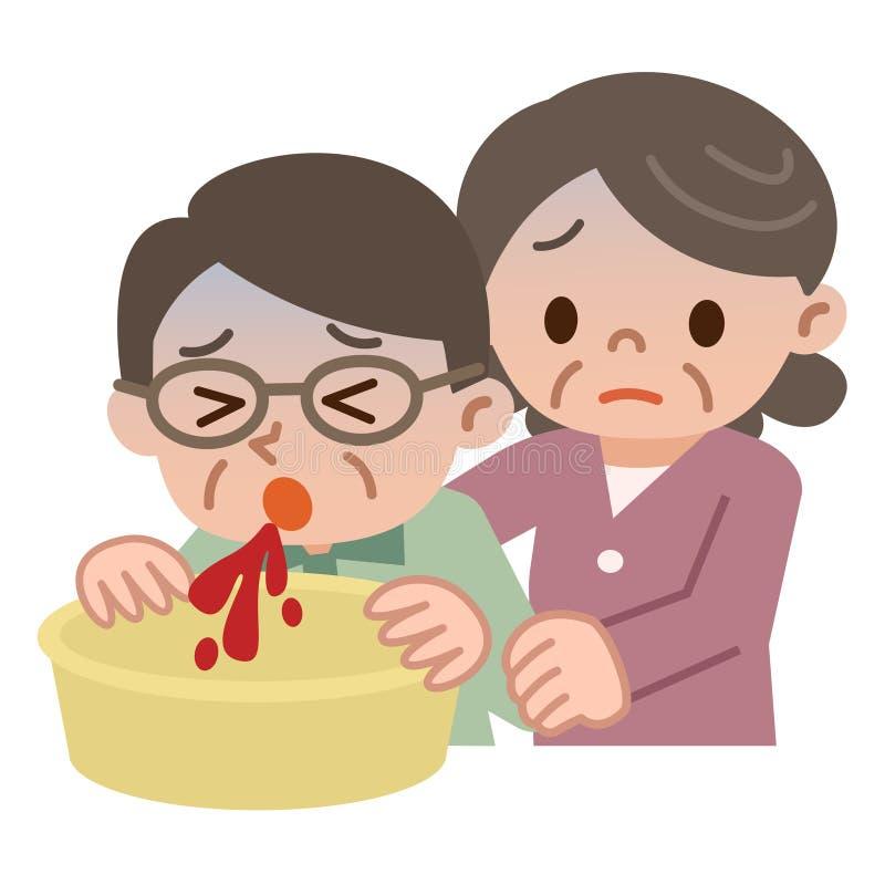 Ältere Frau, die für erbrechenden älteren Mann des Bluts sich interessiert vektor abbildung
