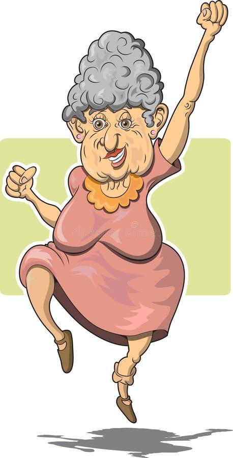 Ältere Frau, die für Freude springt stock abbildung