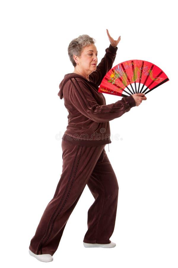 Ältere Frau, die Tai-Chi-Yogaübung tut stockfotos