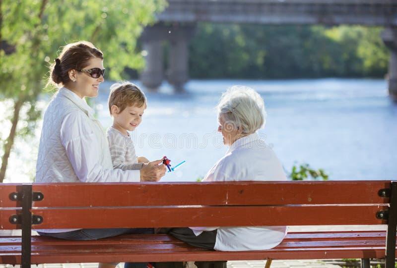 Ältere Frau, ihre erwachsene Enkelin und groß - Enkel im Park stockbilder