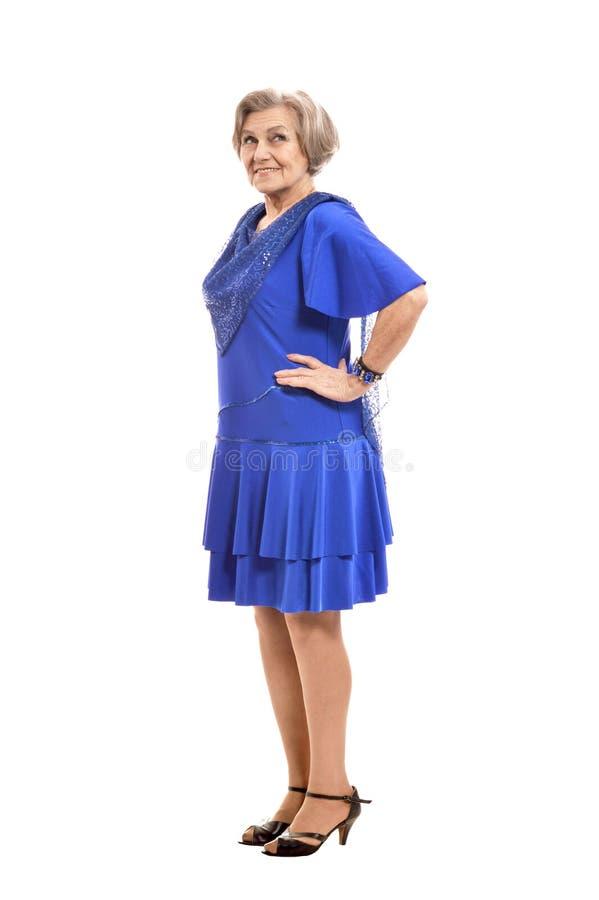 Ältere Frau im eleganten Kleid stockbild