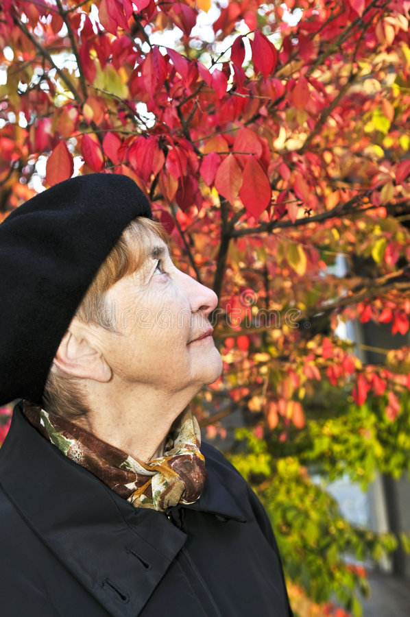 Ältere Frau im Fallpark stockfoto