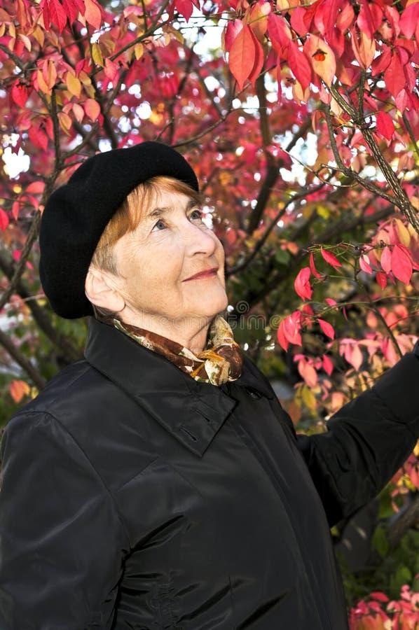 Ältere Frau im Fallpark lizenzfreie stockbilder