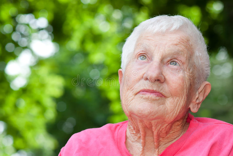 Ältere Frau im Rollstuhl stockfotografie