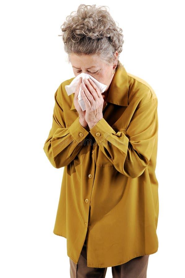 Ältere Frau mit einer Kälte. stockfotos