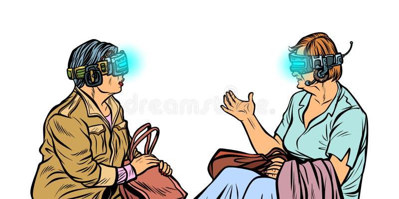 Ältere Frauen in der virtuellen Realität, VR-Gläser lizenzfreie abbildung