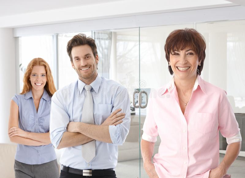 Ältere Geschäftsfrau und junge Kollegen stockbilder