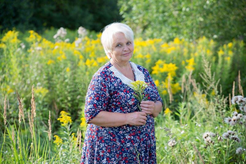 Ältere Großmutter im Freien stockbild