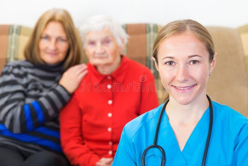 Ältere häusliche Pflege stockfoto