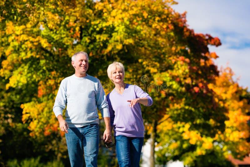 Ältere im Herbst oder im Fall Hand in Hand gehend stockbilder