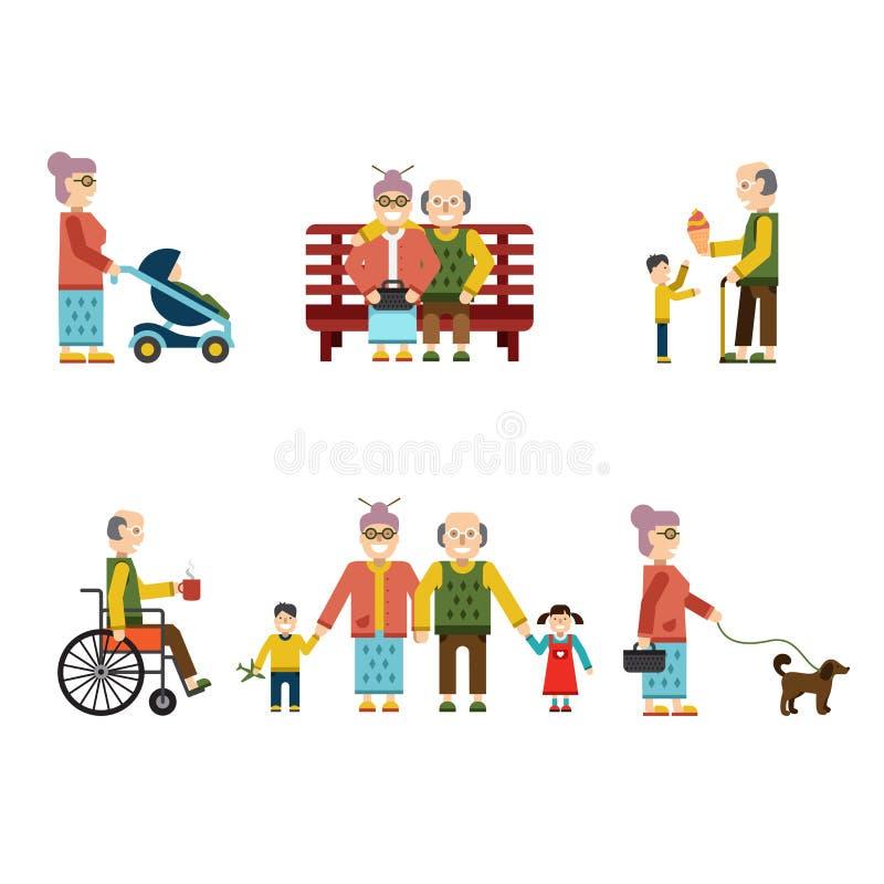 Ältere Leute in verschiedene Situationen lokalisierter Vektor-Illustration stock abbildung