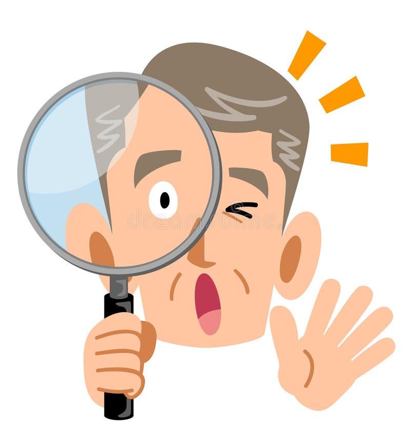 Ältere ältere Männer überrascht am Blicken in Lupen vektor abbildung