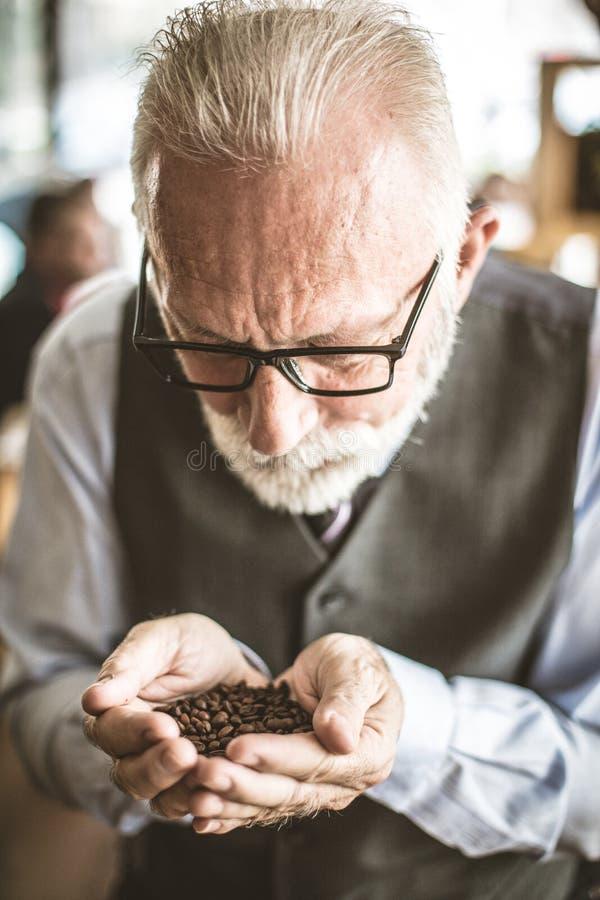 Ältere Männer, die Korn des Kaffees in den Händen halten stockfotos