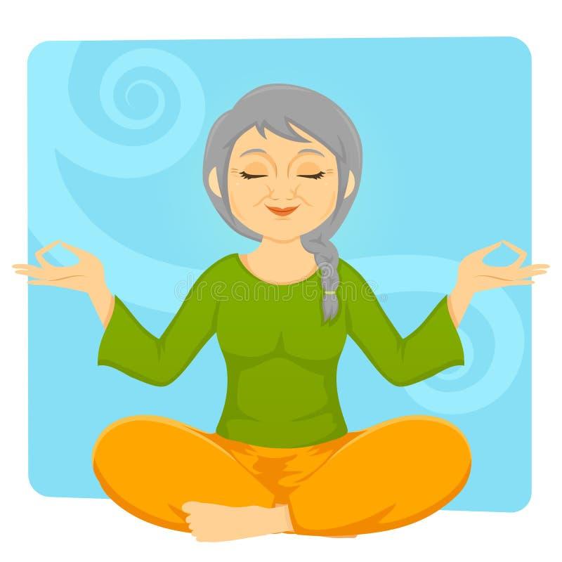 Ältere meditierende Frau lizenzfreie abbildung