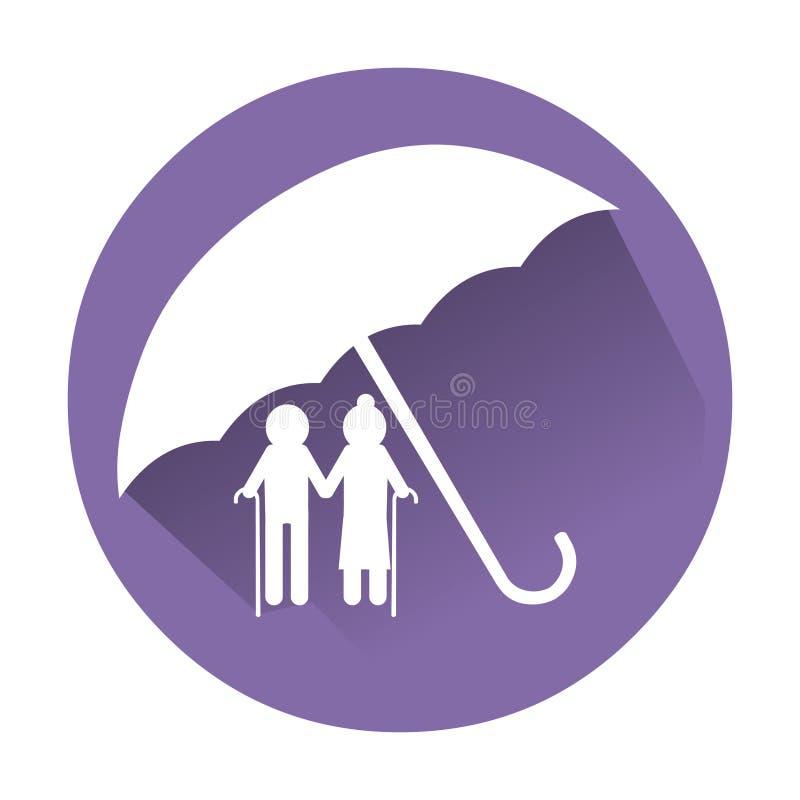 Ältere Menschen Versicherungsikone Behinderte Sorgfaltvektorikonen-Logoillustration lizenzfreie abbildung