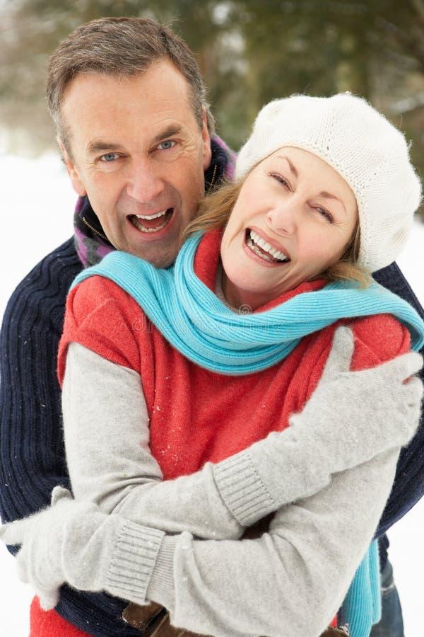 Ältere Paar-stehende Außenseite in der Snowy-Landschaft lizenzfreies stockbild