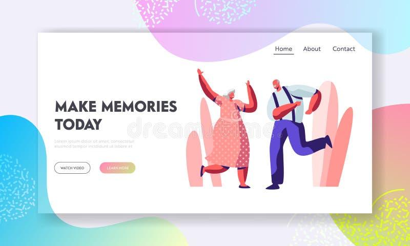 Ältere Paar-tanzende Freizeit Wenden ältere Menschen aktive Lebensstil-, alter Mann und Frau Zeit-Tanz zusammen auf, extrem lizenzfreie abbildung