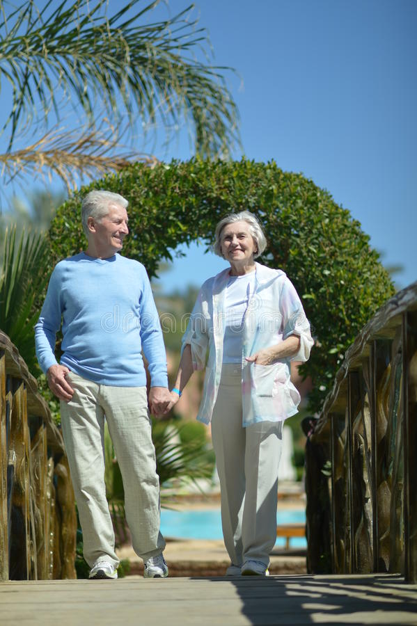 Ältere Paare auf Brücke stockfotografie