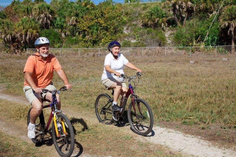 Ältere Paare auf Fahrrad-Fahrt stockfotos