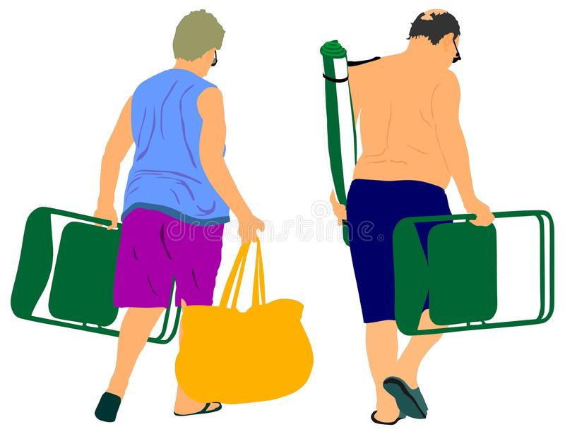 Ältere Paare auf Strandurlaubvektor Reife kampierende Leute stock abbildung