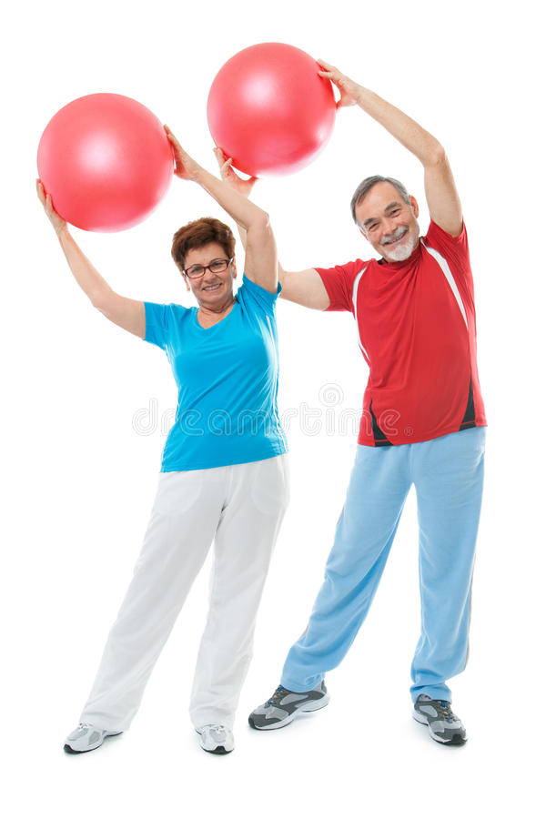Ältere Paare in der Gymnastik lizenzfreies stockbild