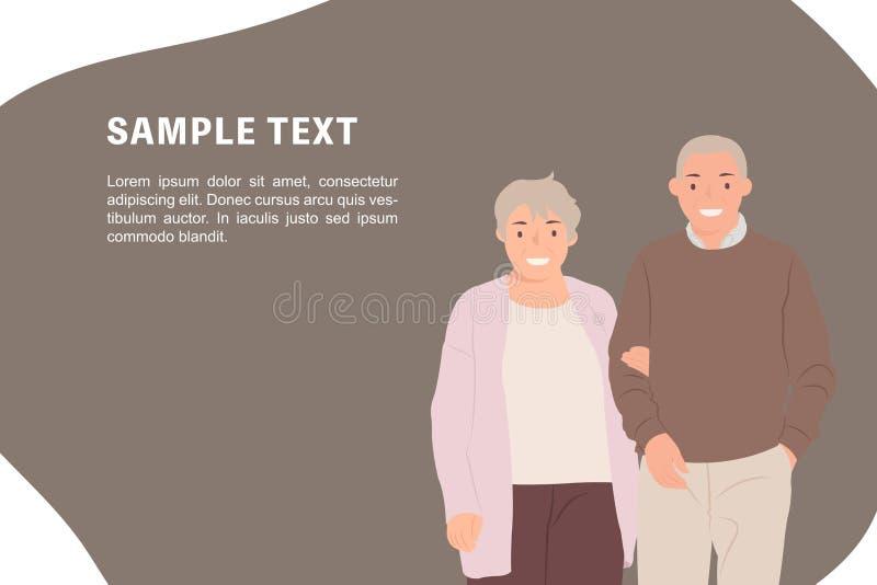 Ältere Paare der Karikaturleute-Charakterentwurfs-Fahnenschablone, die Kamera mit lächelndem Gesicht betrachten lizenzfreie abbildung