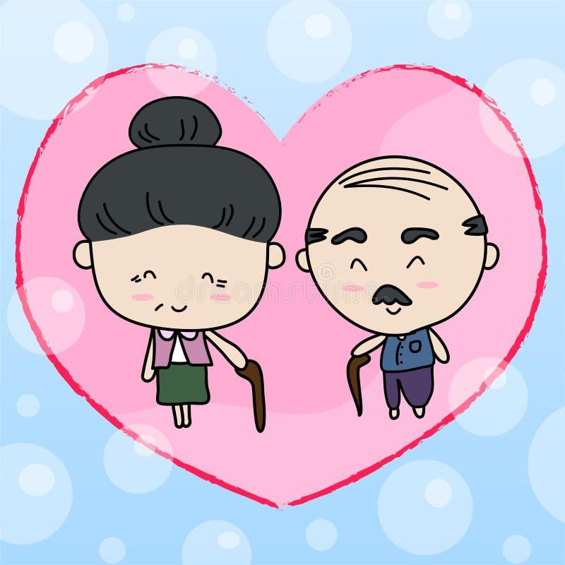 Ältere Paare der Liebhaber Vektorillustration vektor abbildung