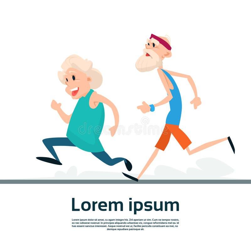 Ältere Paare, die alter Mann-Frauen-Rüttler-Sport-Eignungs-Übungs-Training laufen lassen vektor abbildung