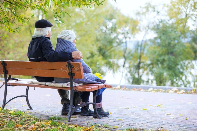 Ältere Paare, die auf Bank im Park sitzen lizenzfreie stockfotos