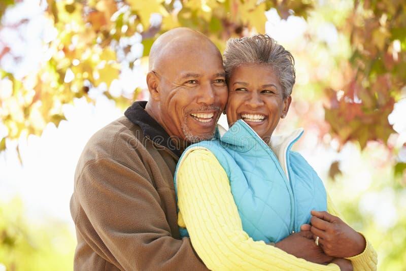 Ältere Paare, die durch Autumn Woodland gehen stockfotografie