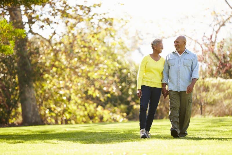 Ältere Paare, die durch Autumn Woodland gehen stockfotos