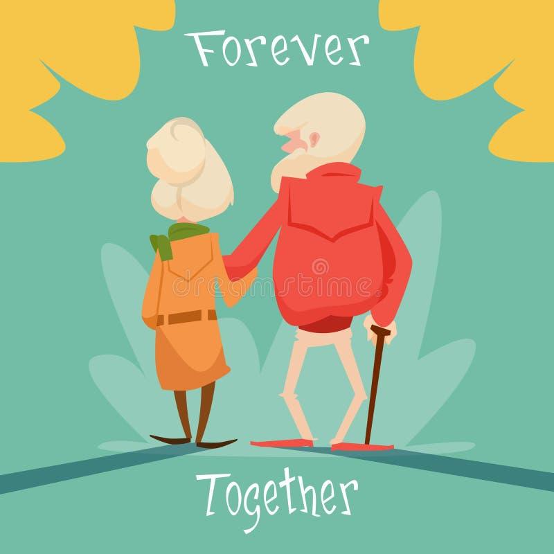 Ältere Paare, die für immer zusammen Großeltern-Tagesgruß-Karte gehen lizenzfreie abbildung