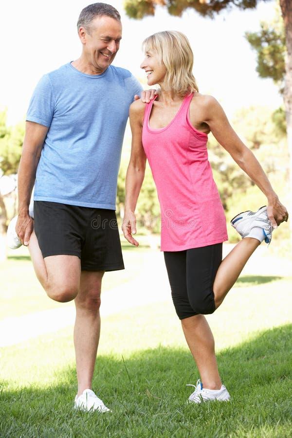 Ältere Paare, die im Park trainieren lizenzfreie stockfotos