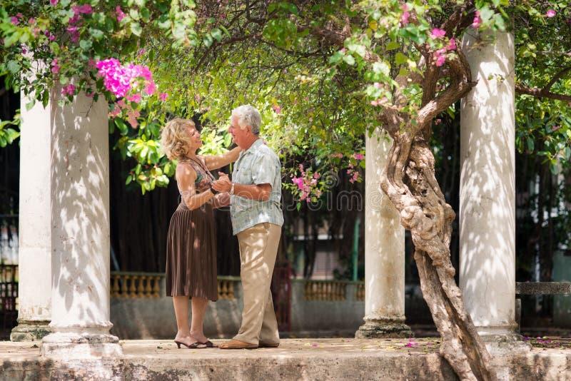 Ältere Paare, die lateinamerikanischen Tanz für Spaß tanzen stockfotos