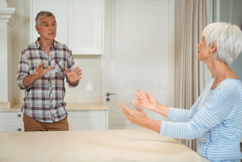 Ältere Paare, die mit einander streiten lizenzfreies stockbild