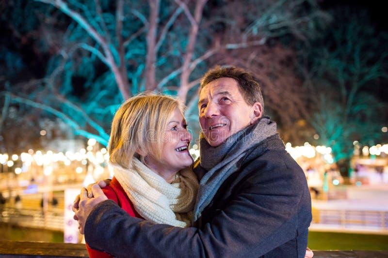 Ältere Paare, die in Nachtstadt gehen Winter, historisches Gebäude lizenzfreie stockfotos