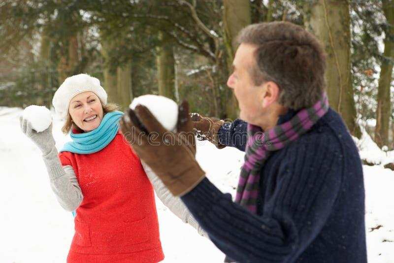 Ältere Paare, die Schneeball-Kampf haben stockbild
