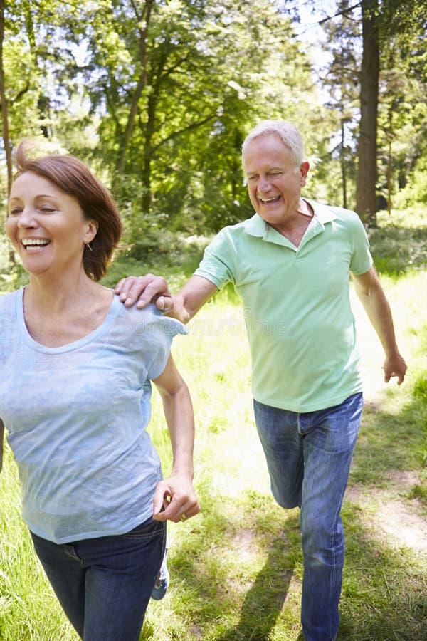 Ältere Paare, die in Sommer-Landschaft laufen lizenzfreies stockbild
