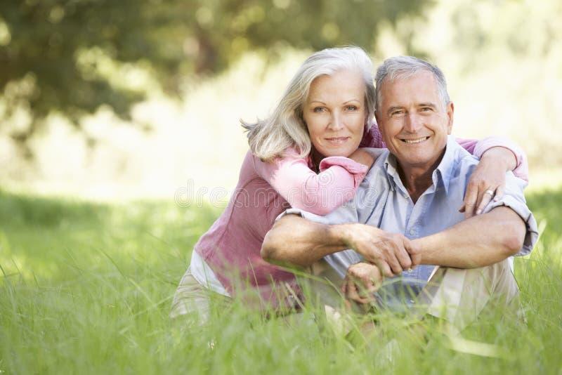 Ältere Paare, die in Sunny Summer Field sich entspannen stockbild