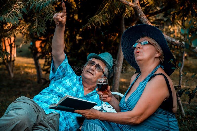 Ältere Paare, die weg in den Himmel beim Trinken des Weins im Park zeigen stockbild