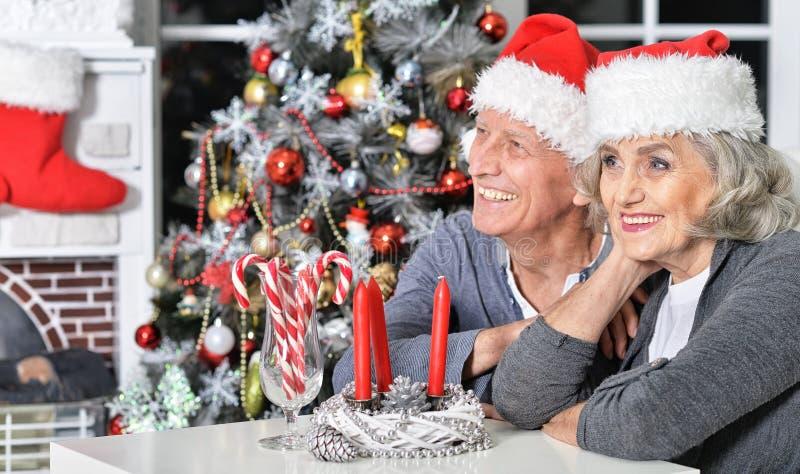 Ältere Paare, die Weihnachten feiern lizenzfreies stockbild