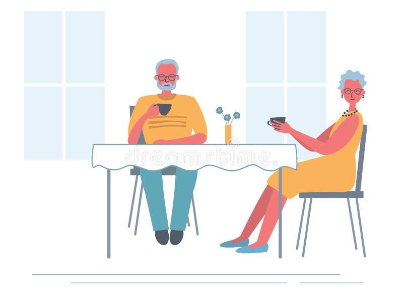 Ältere Paare im Café Alte Dame und alter Mann sitzen am Tisch und am trinkenden Tee vektor abbildung