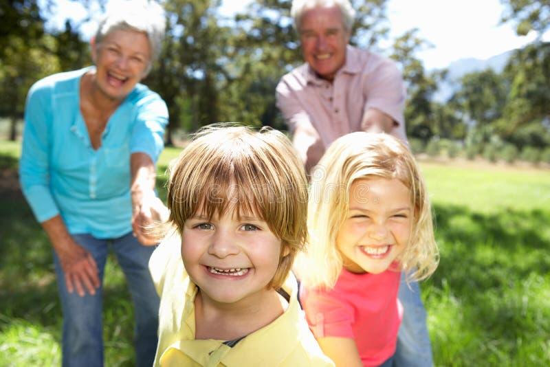 Ältere Paare mit Enkelkindern lizenzfreie stockfotos