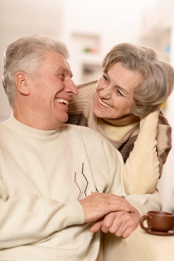 Ältere Paare mit Tasse Tee stockfoto